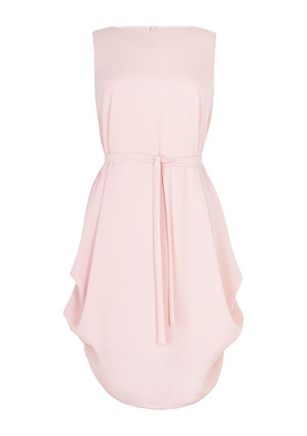 BOHOBOCO - Różowa sukienka z zakładkami po bokach - 1420 zł