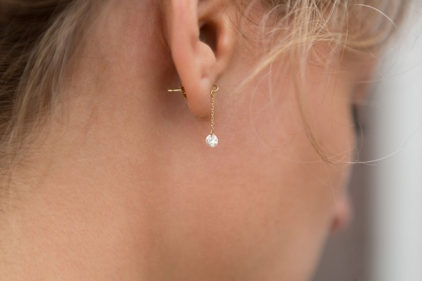 Hush Nude Diamond Earrings - Model 3